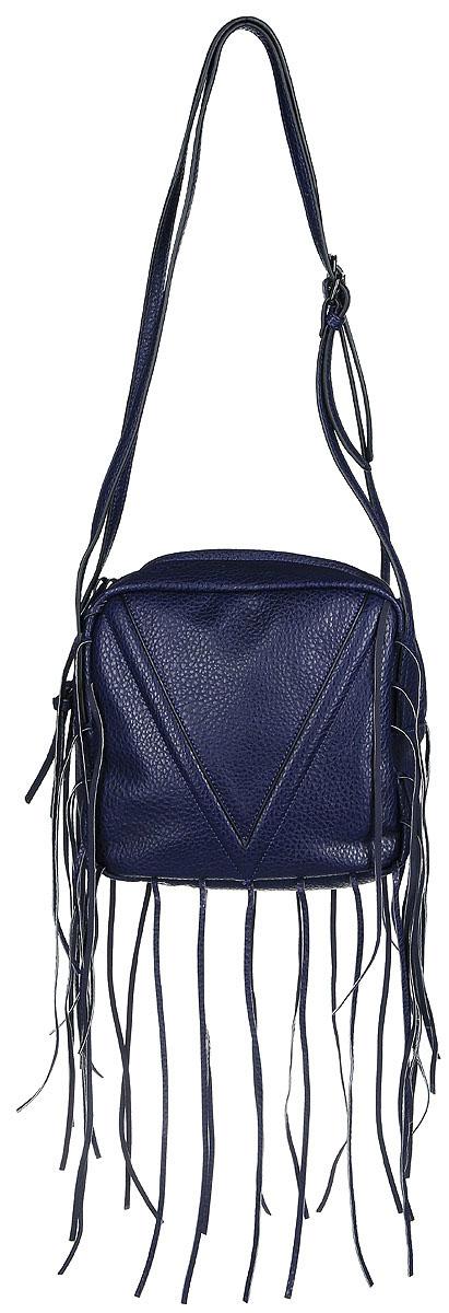Сумка женская Vitacci, цвет: синий. BD0154BD0154Изысканная женская сумка Vitacci идеально дополнит ваш образ. Она изготовлена из качественной искусственной кожи зернистой текстуры и выполнена в оригинальном дизайне. Сумка оформлена оригинальными нашивками в виде веревок и закрывается на удобную молнию. Внутри расположено одно вместительное отделение, которое содержит два накладных открытых кармана для телефона и мелочей и один вшитый карман на молнии. Сумка оснащена двумя плечевыми ремнями, длина которых регулируется с помощью пряжек. Роскошная сумка внесет элегантные нотки в ваш образ и подчеркнет ваш неповторимый стиль.