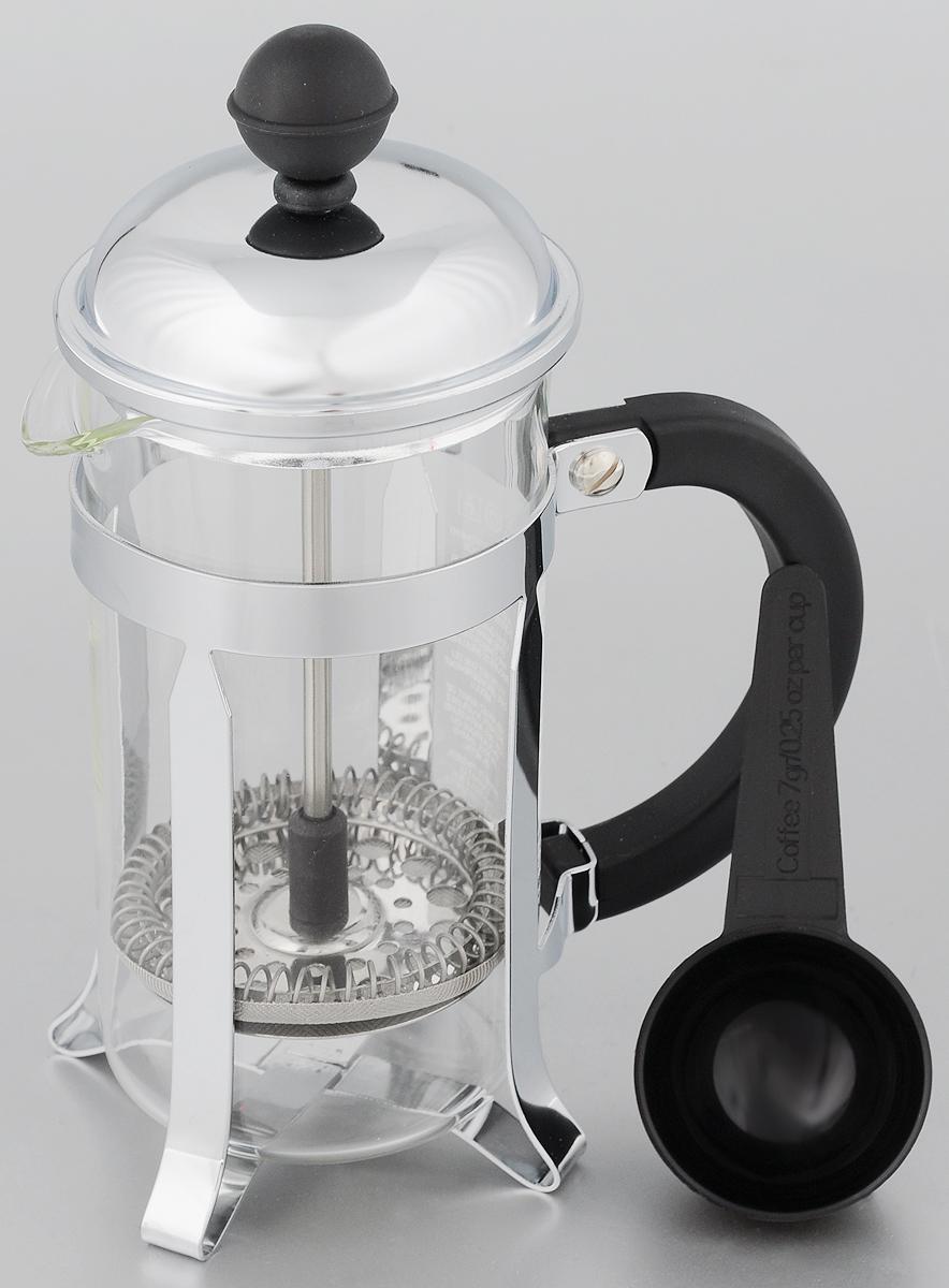 Френч-пресс Melior Chambord, с мерной ложкой, 350 млM1923-16Френч-пресс Melior Chambord позволит быстро и просто приготовить свежий и ароматный чай или кофе. Корпус изготовлен из высококачественного жаропрочного стекла, устойчивого к окрашиванию, царапинам и термошоку. Фильтр-поршень из нержавеющей стали выполнен по технологии press-up для обеспечения равномерной циркуляции воды. Готовить напитки с помощью френч-пресса очень просто. С помощью мерной ложечки насыпьте внутрь заварку и залейте кипятком. Остановить процесс заваривания легко. Для этого нужно просто опустить поршень, и заварка уйдет вниз, оставляя вверху напиток, готовый к употреблению. Заварочный чайник с прессом - это совершенный чайник для ежедневного использования. Практичный и стильный дизайн полностью соответствует последним модным тенденциям в создании предметов кухонной утвари. Можно мыть в посудомоечной машине. Диаметр (по верхнему краю): 7 см. Высота (с учетом крышки): 19 см. Диаметр основания: 6,5 см.