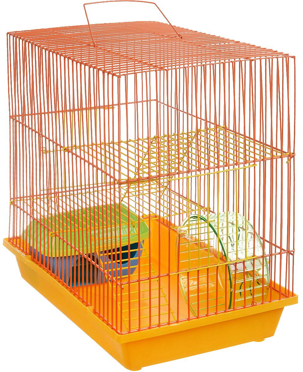 Клетка для грызунов ЗооМарк, 3-этажная, цвет: желтый поддон, оранжевая решетка, желтые этажи, 36 х 23 х 34,5 см. 135ж135ж_желтый, оранжевыйКлетка ЗооМарк, выполненная из полипропилена и металла, подходит для мелких грызунов. Изделие трехэтажное, оборудовано колесом для подвижных игр и пластиковым домиком. Клетка имеет яркий поддон, удобна в использовании и легко чистится. Сверху имеется ручка для переноски. Такая клетка станет уединенным личным пространством и уютным домиком для маленького грызуна.