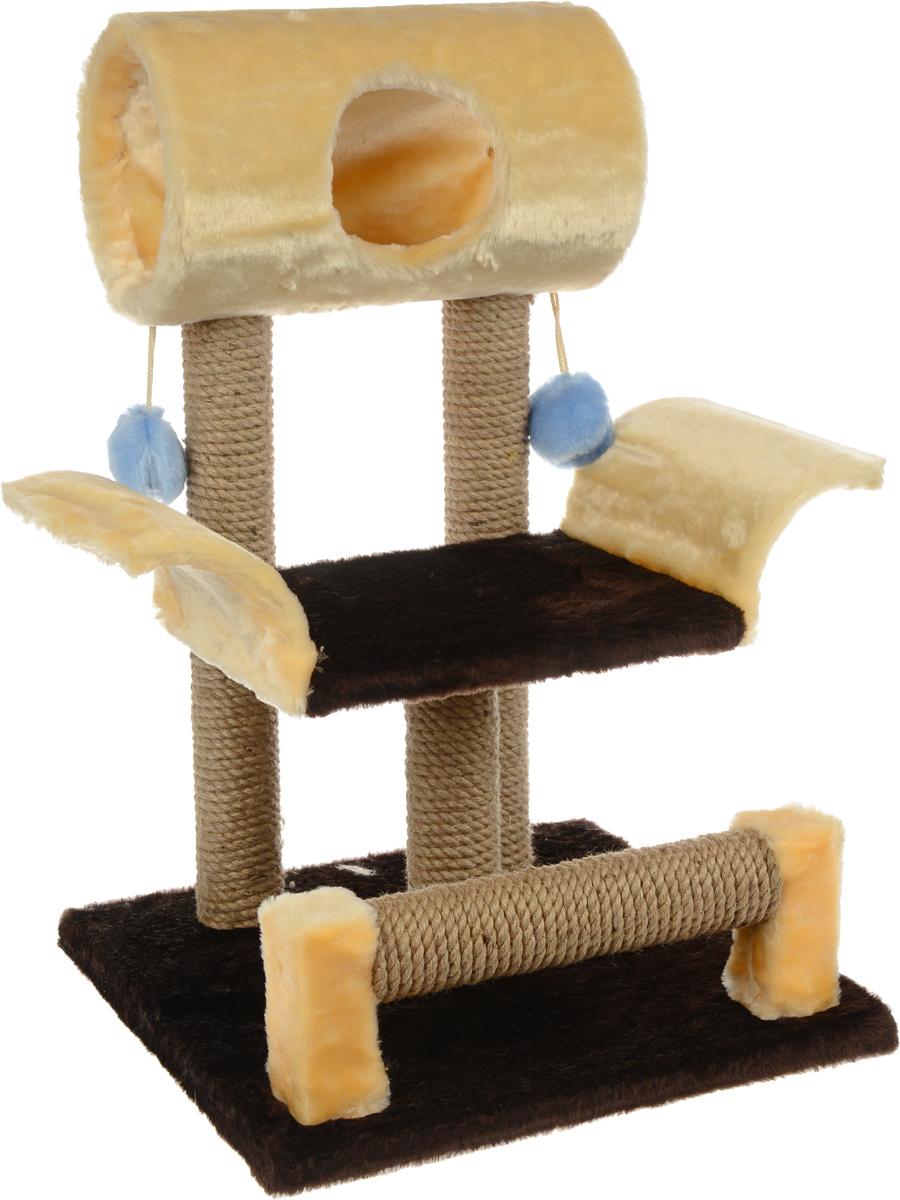 Игровой комплекс для кошек ЗооМарк Васька, цвет: бежевый, темно-коричневый, 52 х 46 х 69 см144_бежевый, коричневыйИгровой комплекс для кошек ЗооМарк Васька прекрасно подойдет для животного, которое длительное время остается одно дома. Обеспечивая уютное место для сна и отдыха, комплекс является отличной игровой площадкой для развлечения скучающего животного. Комплекс изготовлен из дерева и обтянут искусственным мехом. Столбики, выполненные из джута, на длительное время отвлекут вашу кошку от мягкой мебели и обоев в доме, а подвесная игрушка развлечет питомца. Комплекс имеет лежак, на котором животное сможет отдохнуть. Сверху имеется туннель. Общий размер комплекса: 52 х 46 х 69 см. Размер туннеля: 36 х 20 х 20 см. Размер лежака (рабочая часть): 31 х 26 см.
