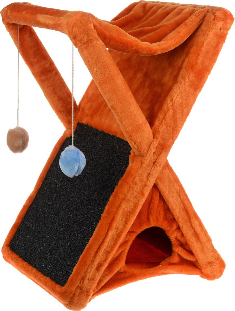 Когтеточка ЗооМарк Икс, цвет: оранжевый, 48 х 41 х 74 см124_оранжевый, серыйКогтеточка ЗооМарк Икс поможет сохранить мебель и ковры в доме от когтей вашего любимца, стремящегося удовлетворить свою естественную потребность точить когти. Когтеточка изготовлена из дерева и обтянута мягким искусственным мехом. Внизу имеется домик для питомца, сверху лежак, по форме похожий на гамак. Сбоку расположена когтеточка, выполненная из прочного ковролина, а над ней 2 игрушки, которые привлекут внимание питомца. Товар продуман в мельчайших деталях и, несомненно, понравится вашей кошке. Всем кошкам необходимо стачивать когти. Когтеточка - один из самых необходимых аксессуаров для кошки. Она поможет вашему любимцу стачивать когти и при этом не портить вашу мебель.