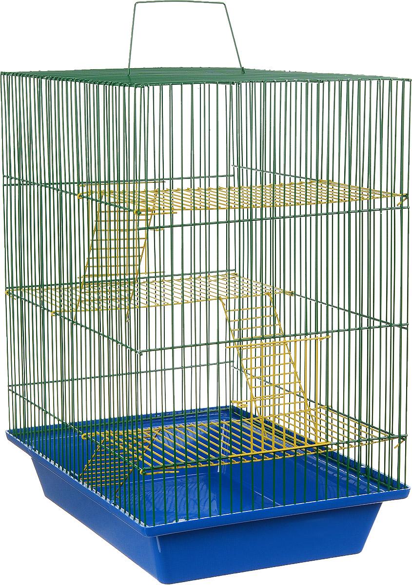 Клетка для грызунов ЗооМарк Гризли, 4-этажная, цвет: синий поддон, зеленая решетка, желтые этажи, 41 х 30 х 50 см. 240ж240ж_синий, зеленыйКлетка ЗооМарк Гризли, выполненная из полипропилена и металла, подходит для мелких грызунов. Изделие четырехэтажное. Клетка имеет яркий поддон, удобна в использовании и легко чистится. Сверху имеется ручка для переноски. Такая клетка станет уединенным личным пространством и уютным домиком для маленького грызуна.
