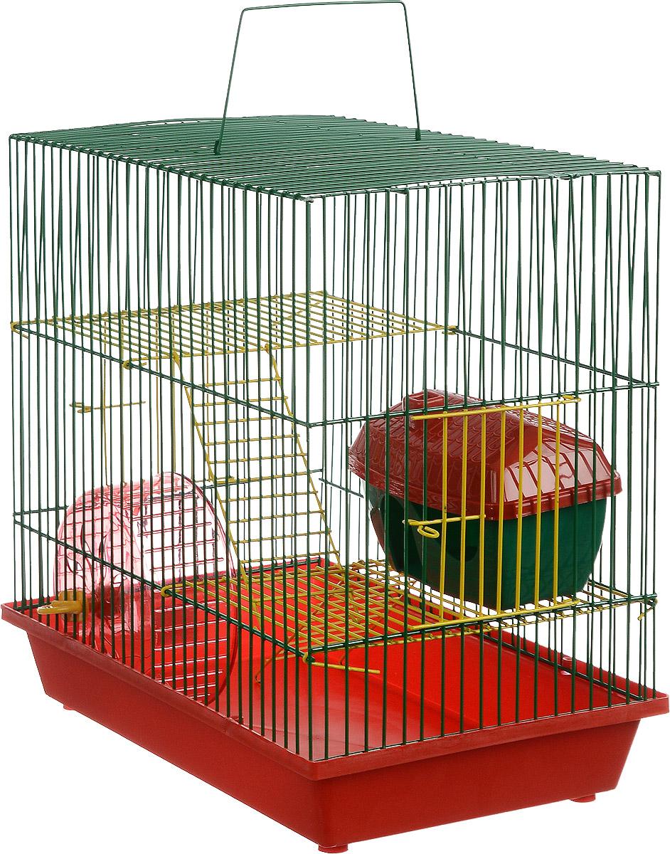 Клетка для грызунов ЗооМарк, 3-этажная, цвет: красный поддон, зеленая решетка, желтые этажи, 36 х 23 х 34,5 см. 135ж135ж_красный, зеленыйКлетка ЗооМарк, выполненная из полипропилена и металла, подходит для мелких грызунов. Изделие трехэтажное, оборудовано колесом для подвижных игр и пластиковым домиком. Клетка имеет яркий поддон, удобна в использовании и легко чистится. Сверху имеется ручка для переноски. Такая клетка станет уединенным личным пространством и уютным домиком для маленького грызуна.