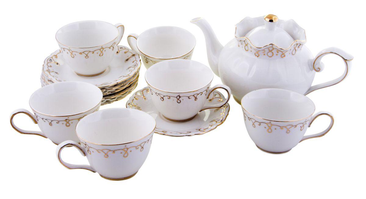 Чайный набор Rosenberg, 13 предметов, 250мл. 867477.858@21925чайный набор, 13 предметов, чайник 1200мл, блюдце 15,5 х 15.5 см чашка 250мл