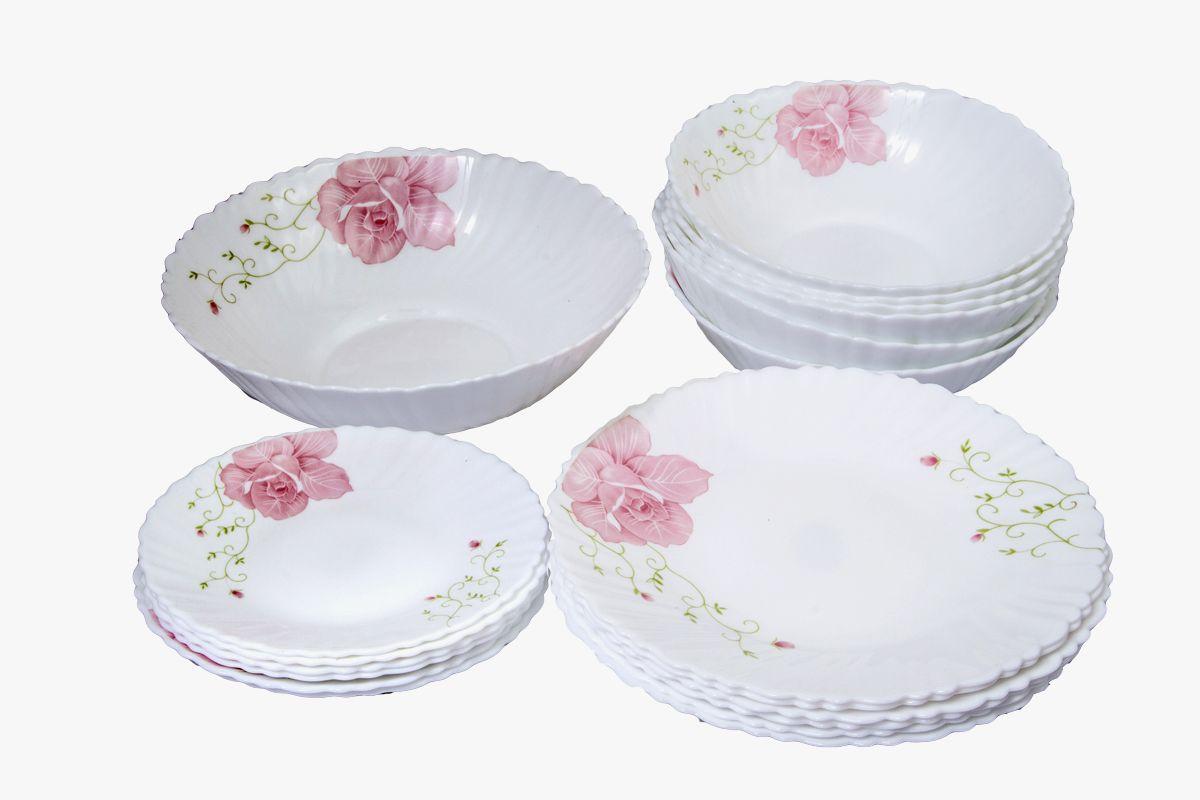 Набор столовой посуды Rosenberg 19 предметов 1252-277.858@23019набор столовой посуды 19 предметов, ударопрочное стекло. В набор входят 6 шт суповых тарелок , 18см, 6 шт плоских тарелок, 23см, 6шт плоских тарелок, 18см, и салатник, 23см, 1шт.