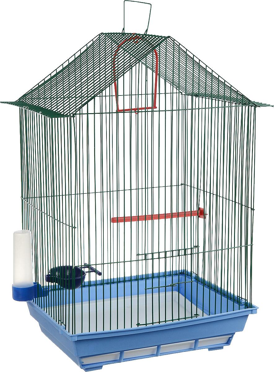 Клетка для птиц ЗооМарк, цвет: голубой поддон, зеленая решетка, 34 x 28 х 54 см430_голубой, зеленыйКлетка ЗооМарк, выполненная из полипропилена и металла с эмалированным покрытием, предназначена для мелких птиц. Изделие состоит из большого поддона и решетки. Клетка снабжена металлической дверцей. В основании клетки находится малый поддон. Клетка удобна в использовании и легко чистится. Она оснащена жердочкой, кольцом для птицы, поилкой, кормушкой и подвижной ручкой для удобной переноски. Комплектация: - клетка с поддоном, - малый поддон; - поилка; - кормушка; - кольцо. Размер клетки: 34 x 28 х 54 см.