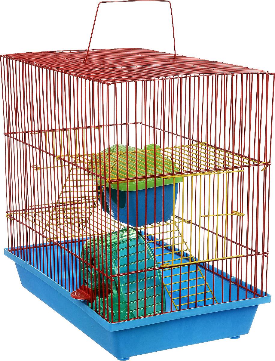 Клетка для грызунов ЗооМарк, 3-этажная, цвет: голубой поддон, красная решетка, желтые этажи, 36 х 23 х 34,5 см. 135ж135ж_голубой, красныйКлетка ЗооМарк, выполненная из полипропилена и металла, подходит для мелких грызунов. Изделие трехэтажное, оборудовано колесом для подвижных игр и пластиковым домиком. Клетка имеет яркий поддон, удобна в использовании и легко чистится. Сверху имеется ручка для переноски. Такая клетка станет уединенным личным пространством и уютным домиком для маленького грызуна.