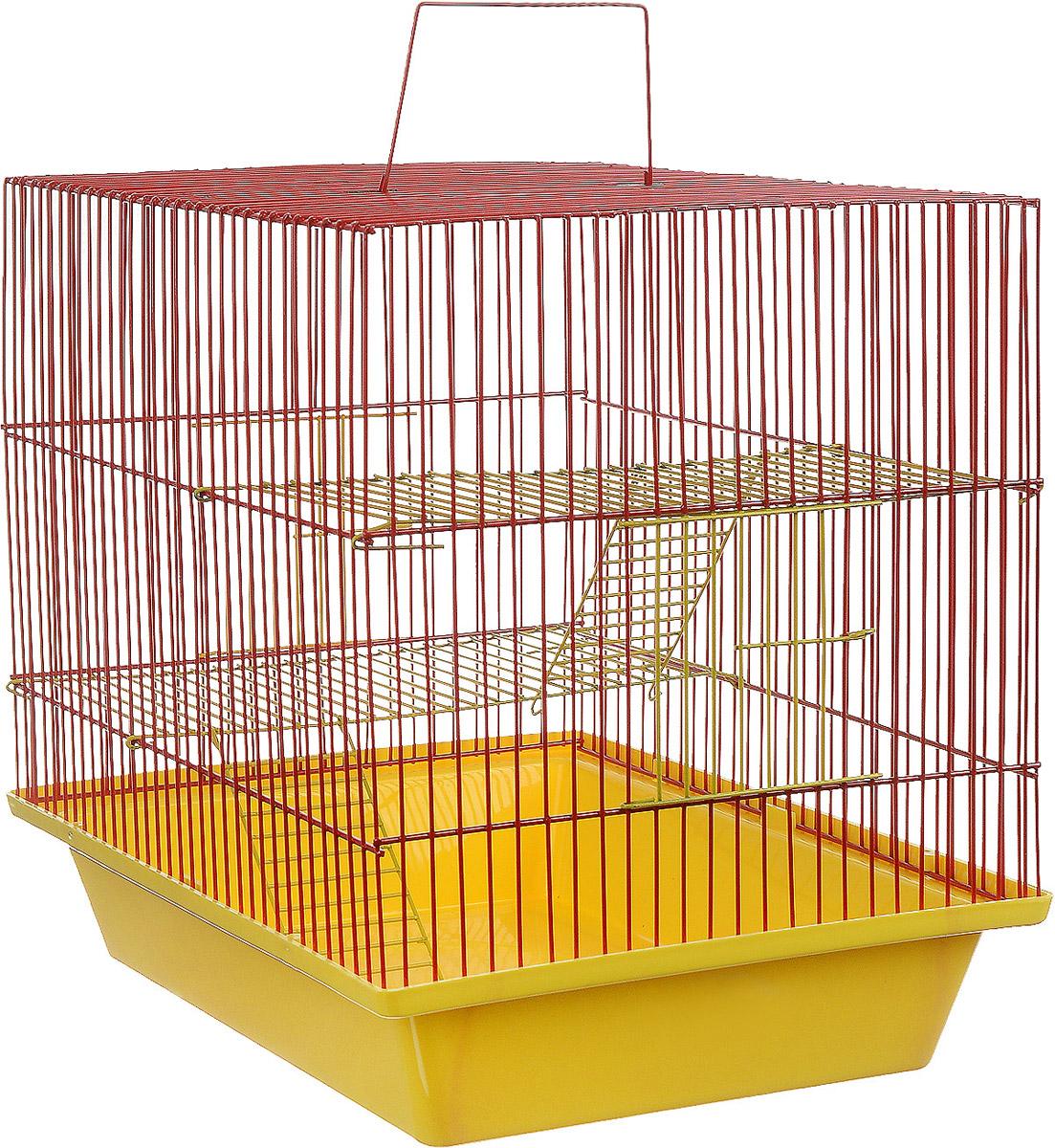 Клетка для грызунов ЗооМарк Гризли, 3-этажная, цвет: желтый поддон, красная решетка, желтые этажи, 41 х 30 х 36 см. 230ж230ж_желтый, красныйКлетка ЗооМарк Гризли, выполненная из полипропилена и металла, подходит для мелких грызунов. Изделие трехэтажное. Клетка имеет яркий поддон, удобна в использовании и легко чистится. Сверху имеется ручка для переноски. Такая клетка станет уединенным личным пространством и уютным домиком для маленького грызуна.