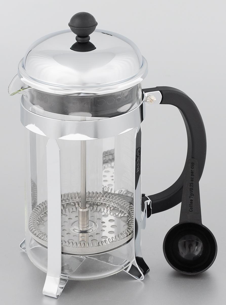 Френч-пресс Bodum Chambord, с мерной ложкой, 1 л1928-16Френч-пресс Bodum Chambord, изготовленный из коррозионностойкой стали, пластика и стекла, предназначен для приготовления 8 чашек кофе или чая. Фильтр-поршень из нержавеющей стали позволит заварить напиток оптимальной крепости. Остановить процесс заваривания легко, для этого нужно просто опустить поршень, заварка останется внизу, оставляя сверху напиток, готовый к употреблению. В комплект входит мерная ложечка из пластика. Оригинальный френч-пресс Bodum Chambord - воплощенная традиция, вещь, ставшая за время своего существования культовой. Высота френч-пресса (с учетом крышки): 25 см. Диаметр френч-пресса: 9,5 см. Длина ложечки: 10 см.