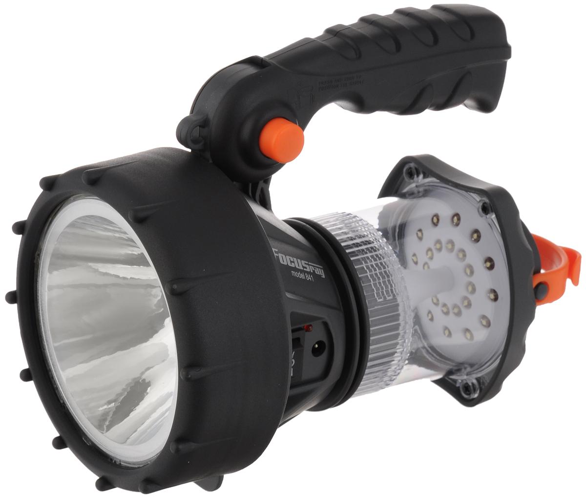 Фонарь кемпинговый Focusray, цвет: черный, серый, оранжевый. FR-841Фонарь Focusray FR-841Фонарь Focusray создан для спорта и активного отдыха. Изделие может работать в двух режимах: прожектор и кемпинг. Источником света являются яркие и экономичные светодиоды нового поколения. Фонарь оснащен удобной подвижной рукояткой. Источники света: светодиод 1 Вт для прожектора и 24 обычных светодиода для кемпингового фонаря. Срок службы светодиодов: не менее 100000 часов. Световой поток в обоих режимах: 90 Лм. Время работы в режиме Прожектор: 4 часа. Время работы в режиме Кемпинг: 3 часа. Время полной зарядки: 6 часов. Подзарядка от сети 220В и от бортовой сети автомобиля. По окончании процесса зарядки загорается светодиодный индикатор. Аккумулятор свинцово-кислотный 4В 700 мАч. Дальность освещения: 100 м.