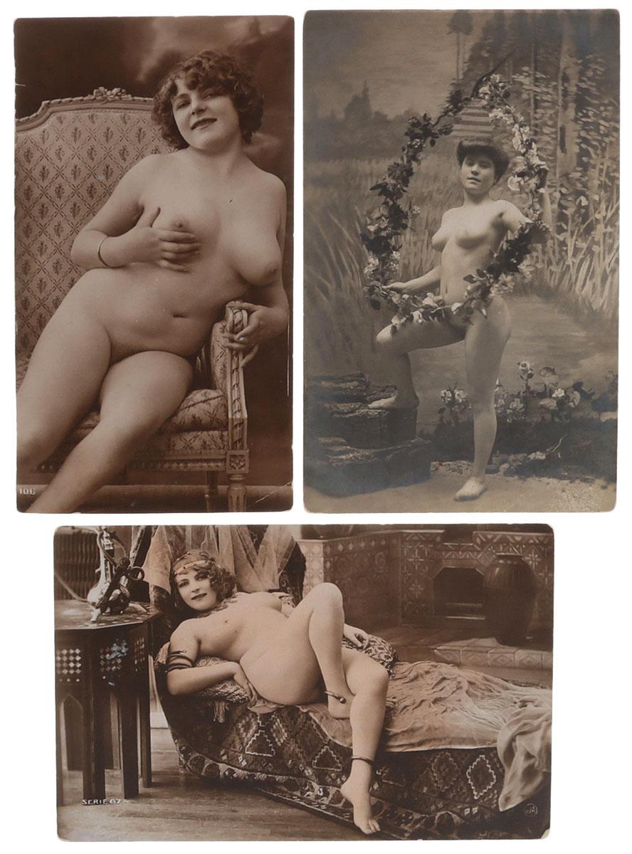 Ню. Комплект из 3 открытокНВА-2 2508 16-39Комплект из 3 открыток с фотографиями в жанре ню. Западная Европа (?), начало XX века. Размеры открыток: 13.5 х 7.5 см, 13.7 х 8.7 см, 13.7 х 9 см. Сохранность хорошая. Без письма.