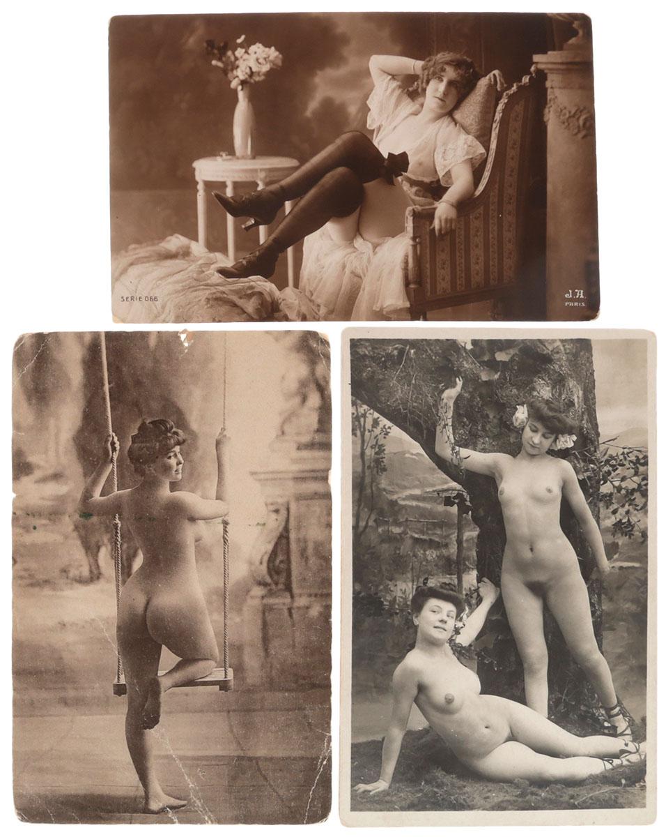Ню. Комплект из 3 открытокНВА-2 2508 16-39Комплект из 3 открыток с фотографиями в жанре ню. Западная Европа, начало XX века. Размеры открыток: 13.7 х 9 см, 14 х 9 см. Сохранность хорошая. Без письма.