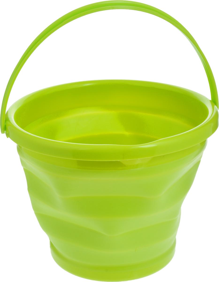 Ведро складное Коллекция, цвет: салатовый, 10 лОСВД-10_салатовыйСкладное ведро Коллекция изготовлено из термопластичной резины и пластика. Благодаря гибкости и пластичности материала ведро легко складывается и раскладывается. Пластиковые вставки отлично держат форму изделия. Ведро прекрасно подходит для различных бытовых нужд, в него также можно наливать воду. Для удобной переноски имеется ручка. В сложенном виде занимает минимум места, имеется отверстие для подвешивания на крючок. Такое практичное и функциональное ведро пригодится в любом хозяйстве. Диаметр (по верхнему краю): 31 см. Высота (в разложенном виде): 24 см. Высота (в сложенном виде): 5 см.