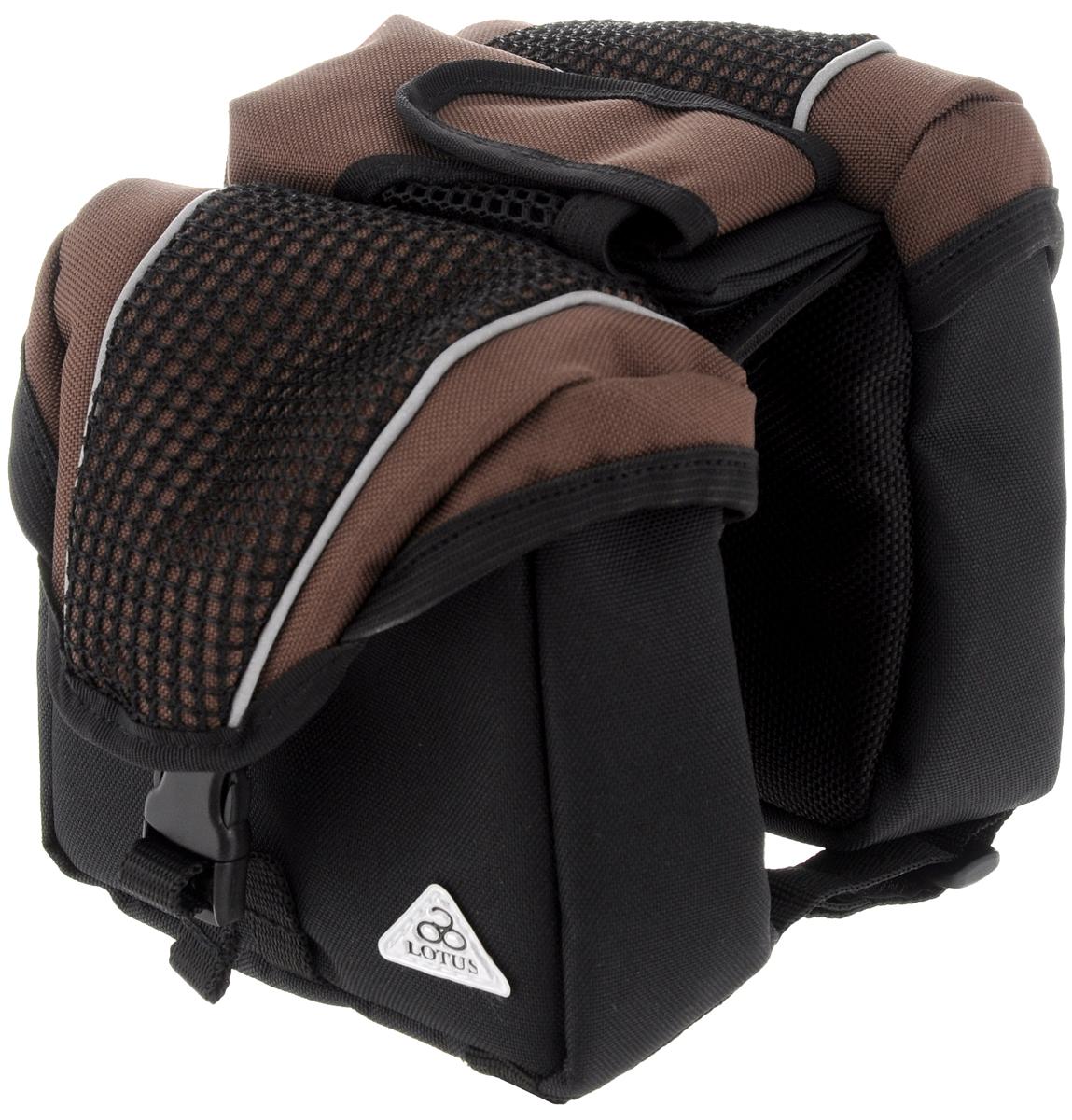 Перекидная сумка на раму велосипеда LotusSH-16/6057Перекидная сумка на раму Lotus изготовлена из плотного полиэстера и нейлона. Изделие имеет два отделения для хранения мелких вещей. Внутри каждого отделения расположен карман на резинке. Закрываются отделения на пластиковые карабины. Мягкий наполнитель защищает предметы от повреждений во время езды. По центру расположен маленький карман на липучке. Сумка крепится к раме при помощи липучек. Такая стильная и функциональная сумка поможет аккуратно хранить ваши вещи во время поездки на велосипеде.
