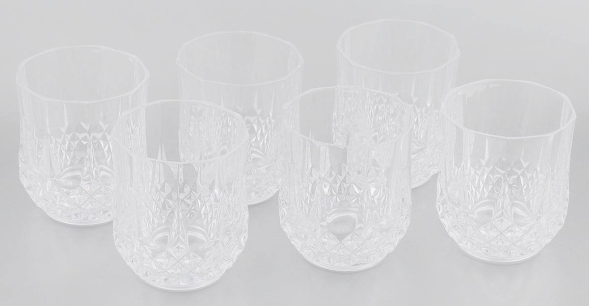 Набор стаканов Cristal Darques Longchamp, 320 мл, 6 штG5077Набор Cristal Darques Longchamp состоит из шести стаканов. Предметы набора выполнены из прочного высококачественного стекла Diamax, отличающегося необыкновенной прозрачностью и великолепным сиянием. Изделия прекрасно подойдут для подачи как алкогольных напитков, так и безалкогольных. Их оценят и любители классики, и те, кто предпочитает современный дизайн. Набор идеально подойдет для сервировки стола и станет отличным подарком к любому празднику. Можно мыть в посудомоечной машине. Диаметр стакана (по верхнему краю): 7,5 см. Высота стакана 9,5 см.