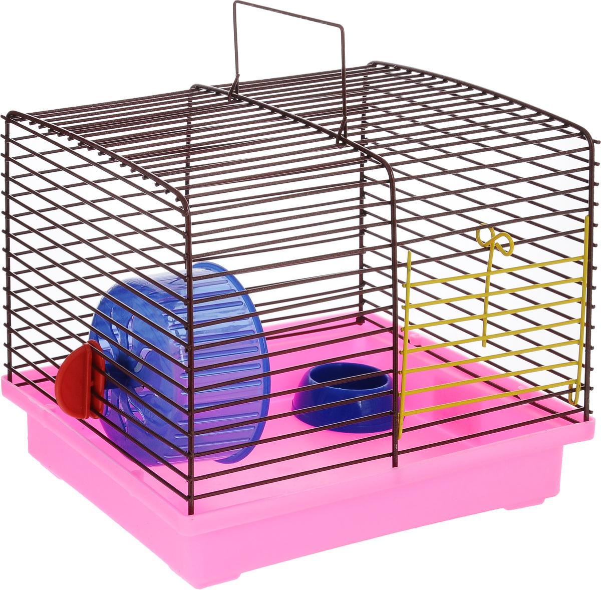 Клетка для хомяка ЗооМарк, с колесом и миской, цвет: розовый поддон, коричневая решетка, 23 х 18 х 18,5 см511_розовый, коричневыйКлетка ЗооМарк, выполненная из пластика и металла, подходит для джунгарского хомячка и других мелких грызунов. Она оборудована колесом для подвижных игр и миской. Клетка имеет яркий поддон, удобна в использовании и легко чистится. Такая клетка станет уединенным личным пространством и уютным домиком для маленького грызуна.