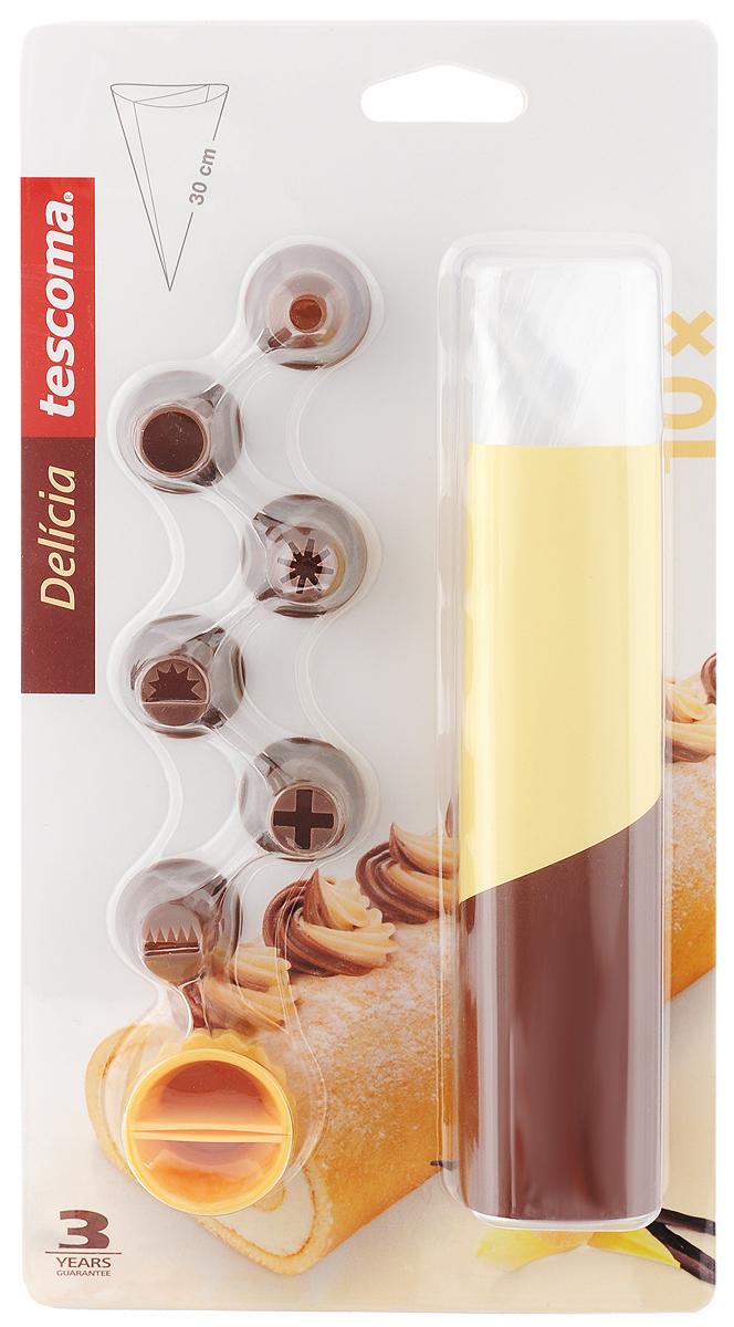 Мешок для украшения блюд Tescoma Delicia, двухсекционный, с насадками, 17 предметов630479Мешки Tescoma Delicia отлично подойдут для украшения пряников, ватрушек, кексов и других блюд. Для использования достаточно заполнить мешочек глазурью или растопленным шоколадом и украсить блюдо, легонько нажимая на мешочек. Насадки изготовлены из стойкого пластика. В комплект входит 10 мешочков, 6 насадок и распределитель. Длина мешочков: 30 см.