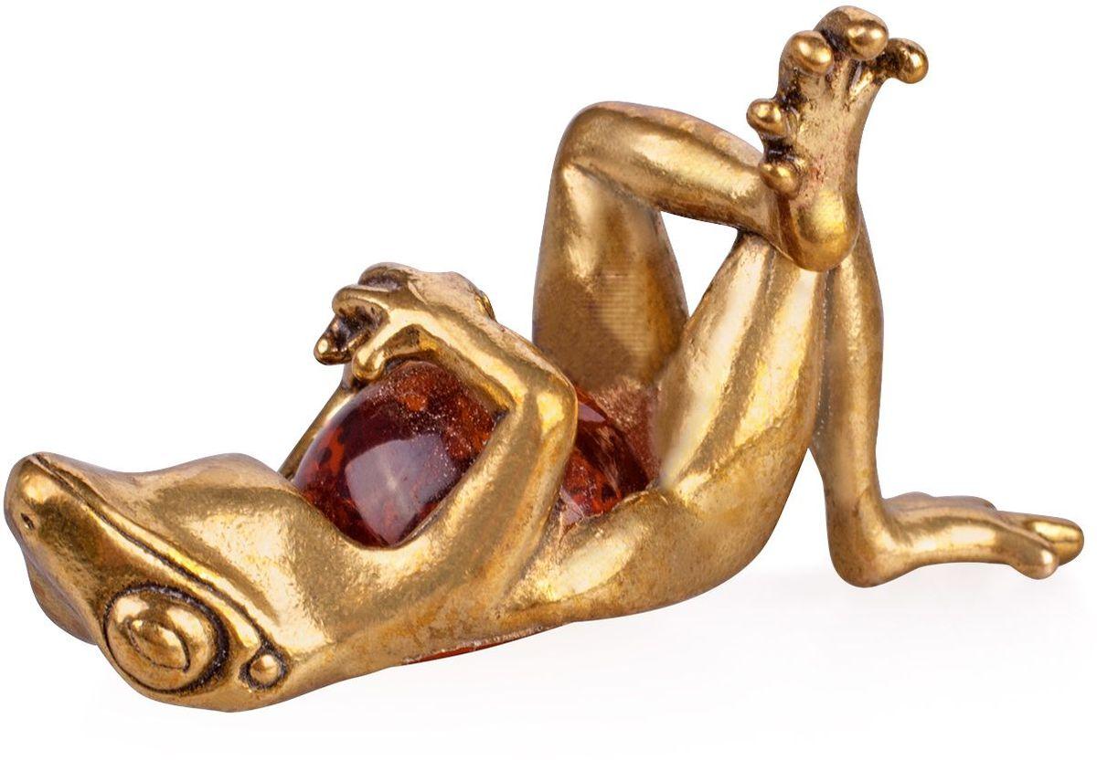Фигурка декоративная Гифтман Лягушка сытая, материал: латунь, искусственный янтарь. Ручная работа. 5211652116Фигурка на янтаре.