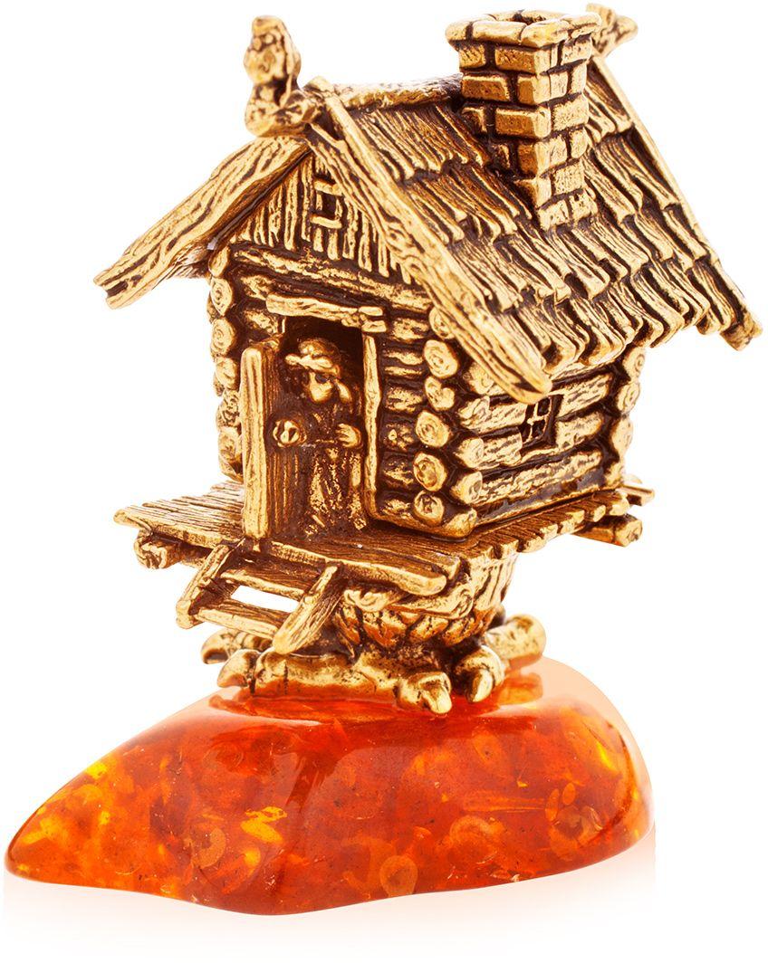 Фигурка декоративная Гифтман Избушка, материал: латунь, искусственный янтарь. Ручная работа. 5215452154Фигурка на янтаре.