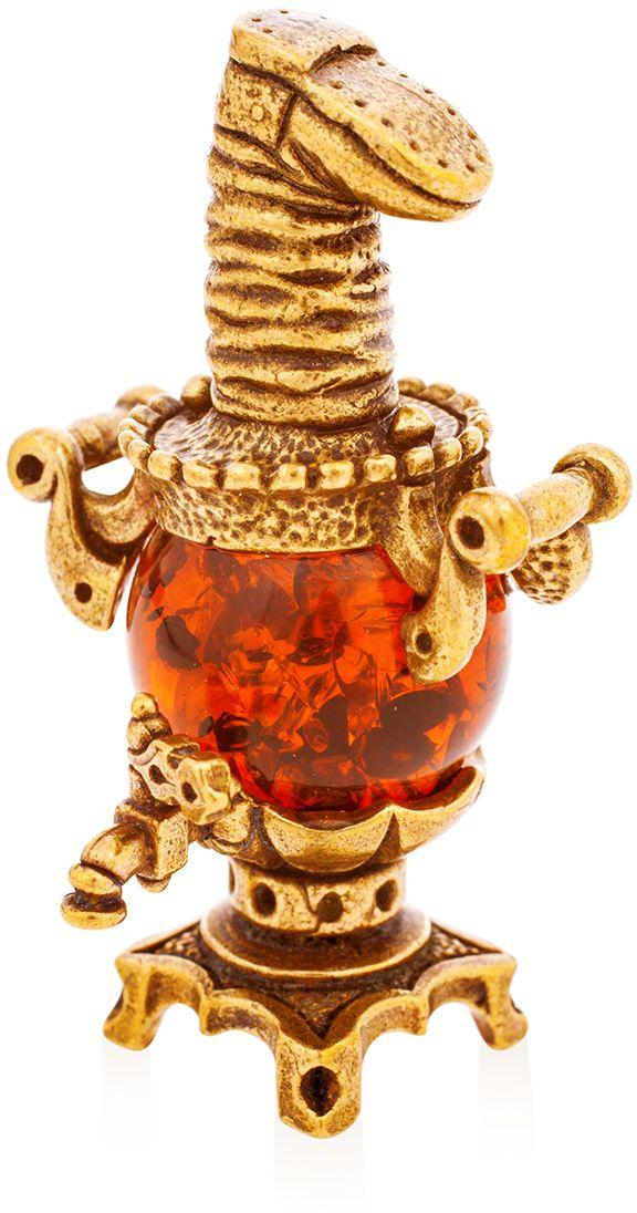 Фигурка декоративная Гифтман Самовар, материал: латунь, искусственный янтарь. Ручная работа. 5216552165Фигурка на янтаре.