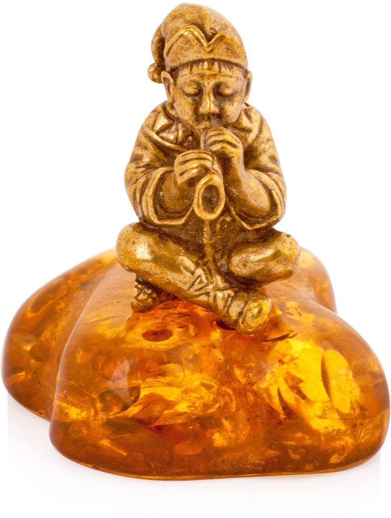 Фигурка декоративная Гифтман Скоморох, материал: латунь, искусственный янтарь. Ручная работа. 5223652236Фигурка на янтаре.