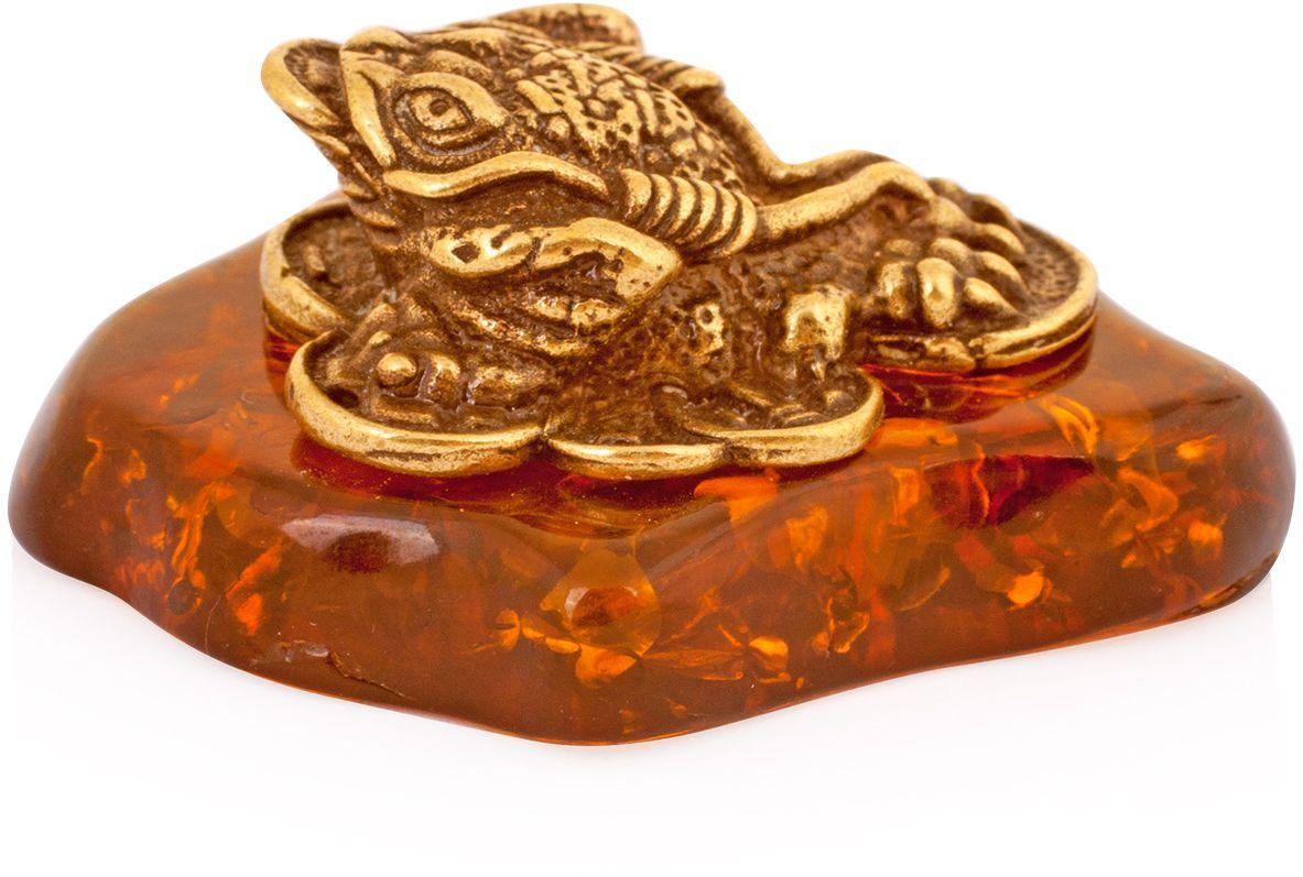Фигурка декоративная Гифтман Лягушка трехлапая, материал: латунь, искусственный янтарь. Ручная работа. 5224652246Фигурка на янтаре.