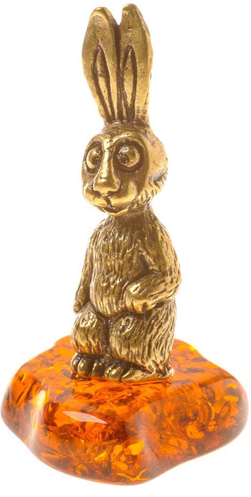 Фигурка декоративная Гифтман Заяц ушастый, материал: латунь, искусственный янтарь. Ручная работа. 5332353323Фигурка на янтаре.