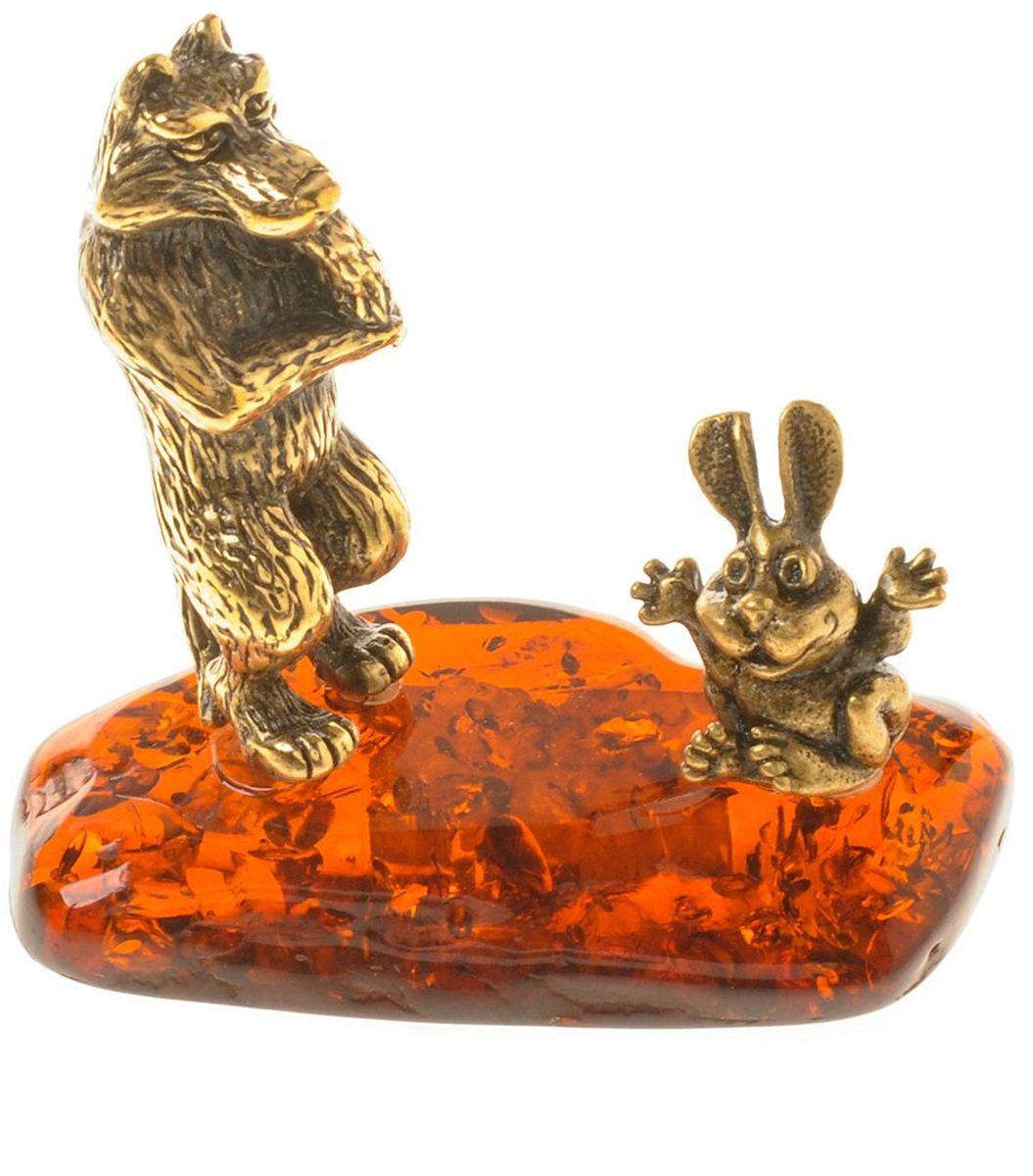 Фигурка декоративная Гифтман Заяц-Волк, материал: латунь, искусственный янтарь. Ручная работа. 5332453324Фигурка на янтаре.
