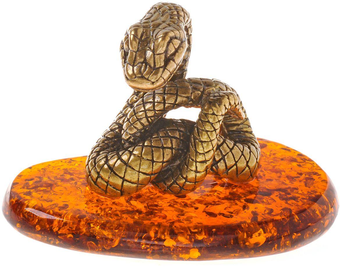 Фигурка декоративная Гифтман Змея без шара, материал: латунь, искусственный янтарь. Ручная работа. 5332653326Фигурка на янтаре.