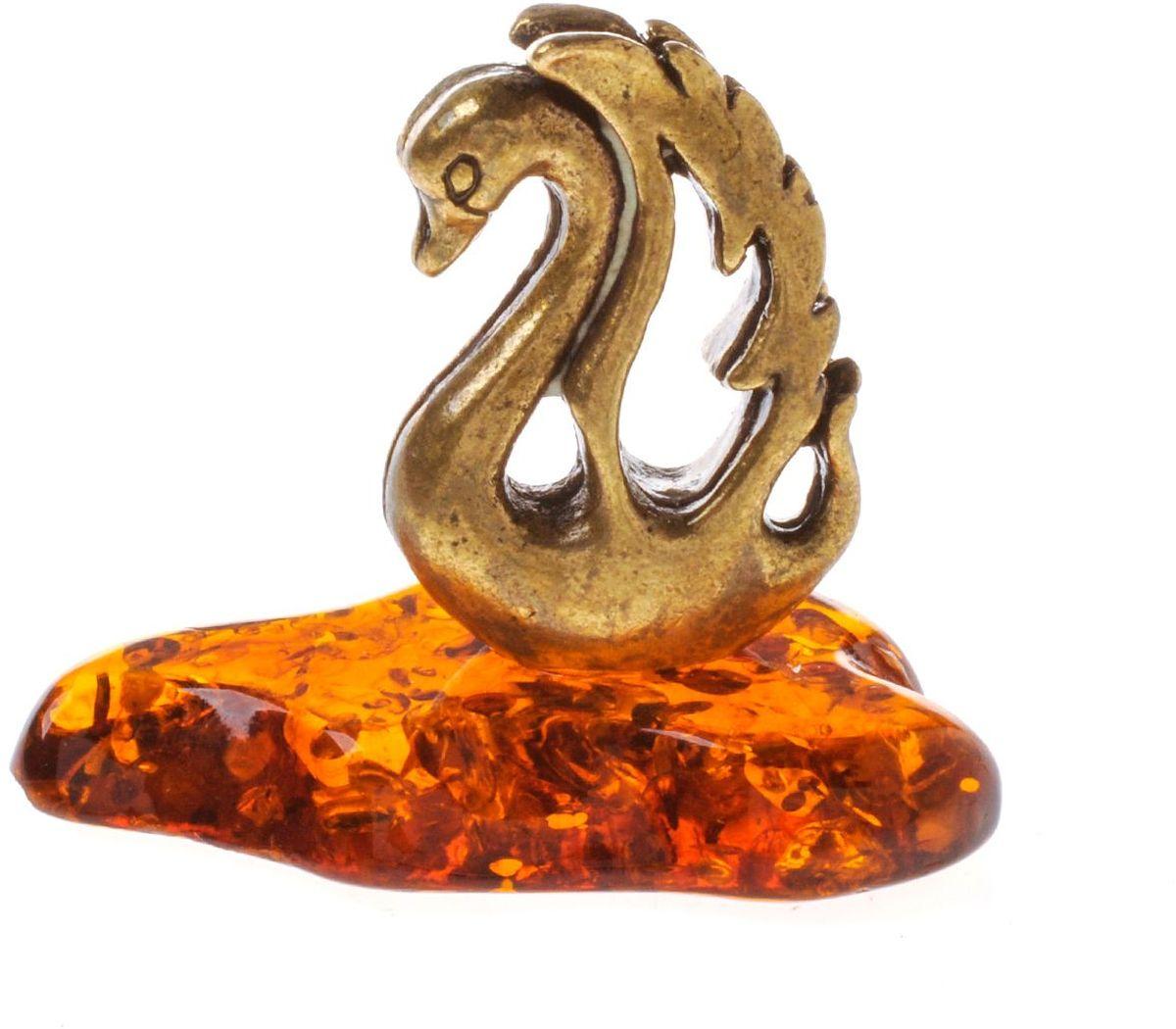 Фигурка декоративная Гифтман Лебедь, материал: латунь, искусственный янтарь. Ручная работа. 5336053360Фигурка на янтаре.