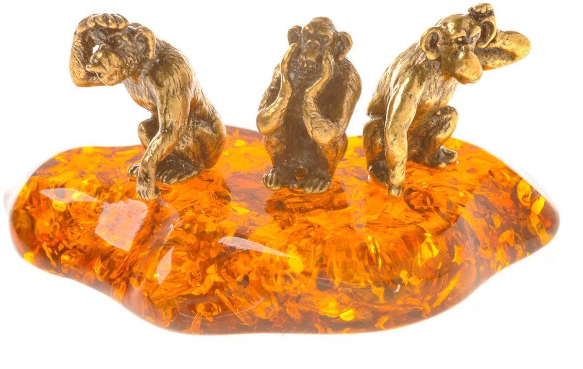 Фигурка декоративная Гифтман Обезьяны трио, материал: латунь, искусственный янтарь. Ручная работа. 5338853388Фигурка на янтаре.