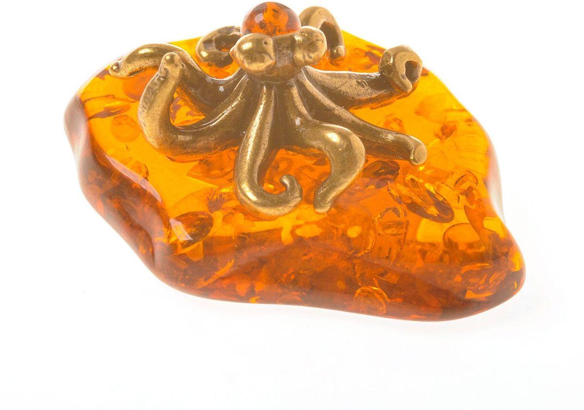 Фигурка декоративная Гифтман Осьминог, материал: латунь, искусственный янтарь. Ручная работа. 5339353393Фигурка на янтаре.