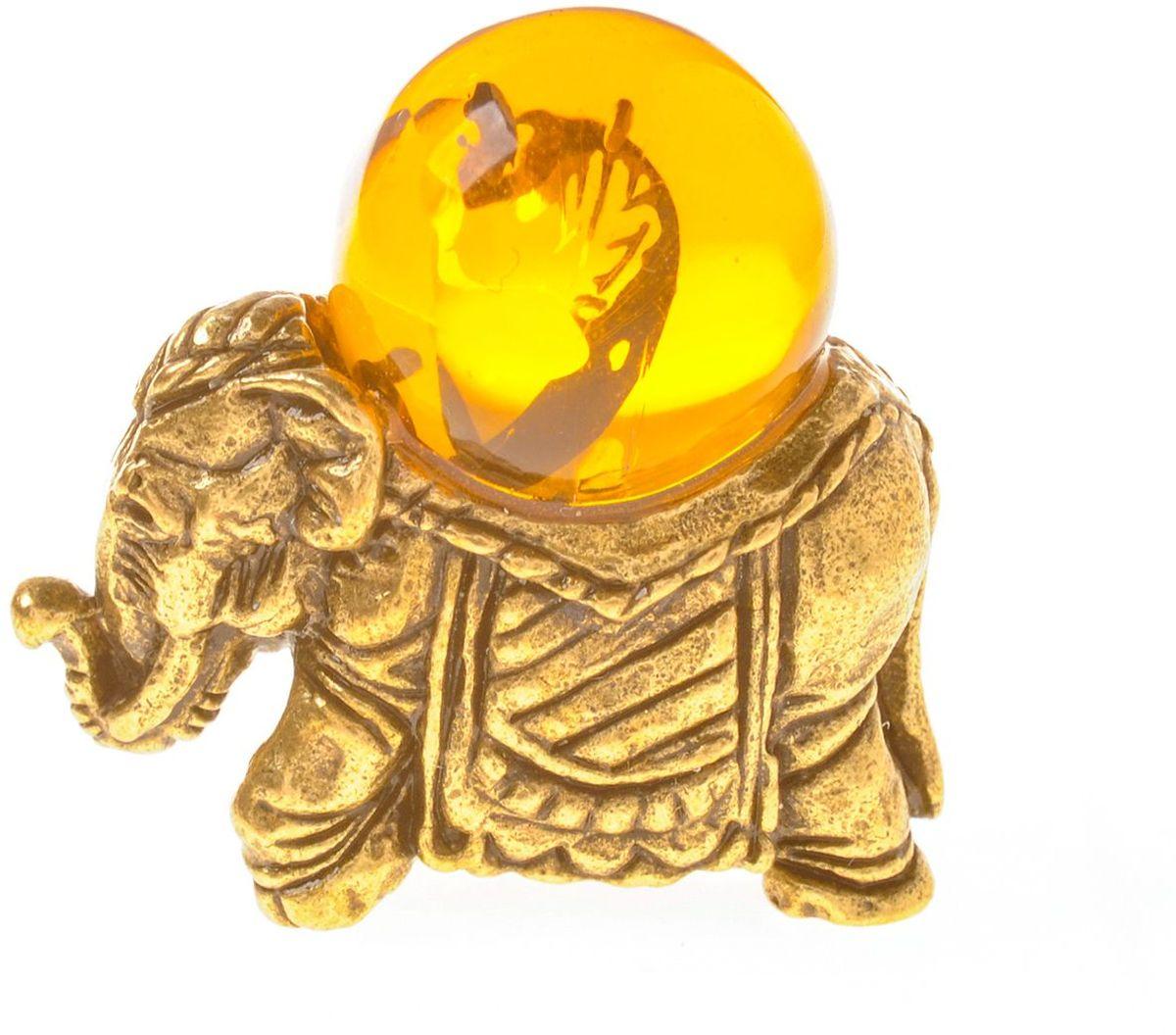 Фигурка декоративная Гифтман Слоник с шаром, материал: латунь, искусственный янтарь. Ручная работа. 5341953419Фигурка на янтаре.