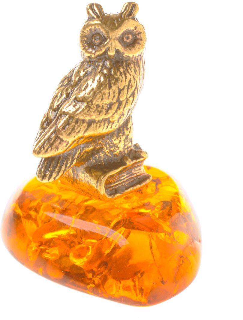 Фигурка декоративная Гифтман Филин, материал: латунь, искусственный янтарь. Ручная работа. 5343153431Фигурка на янтаре.