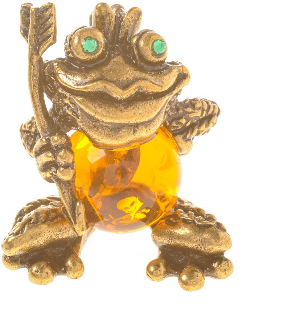 Фигурка декоративная Гифтман Царевна-лягушка, материал: латунь, искусственный янтарь. Ручная работа. 5343253432Фигурка на янтаре.
