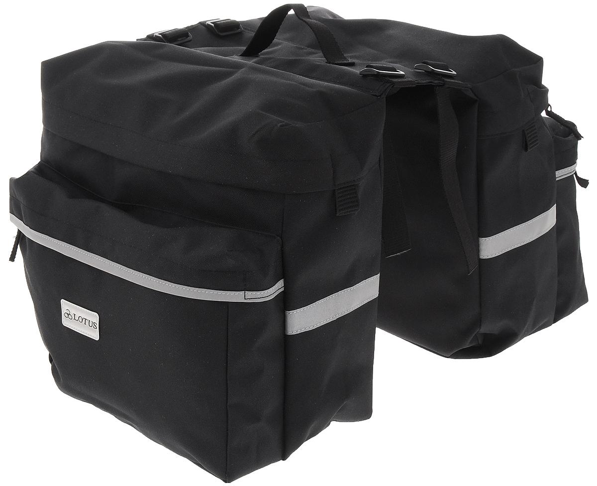 Сумка на багажник Lotus, двойная, 36 х 34 х 30 смSH-104PДвойная велосипедная сумка Lotus имеет два больших объединенных отделения на застежках-молниях. Отделения оснащены передними карманами на застежках-молниях. Светоотражающие вставки служат для лучшей заметности в темное время суток. Сумка крепится на багажник при помощи шнуров с крючками. Сверху имеется ручка для переноски. Общий размер сумки: 36 х 34 х 30 см. Размер одного отделения: 36 х 12 х 30 см.