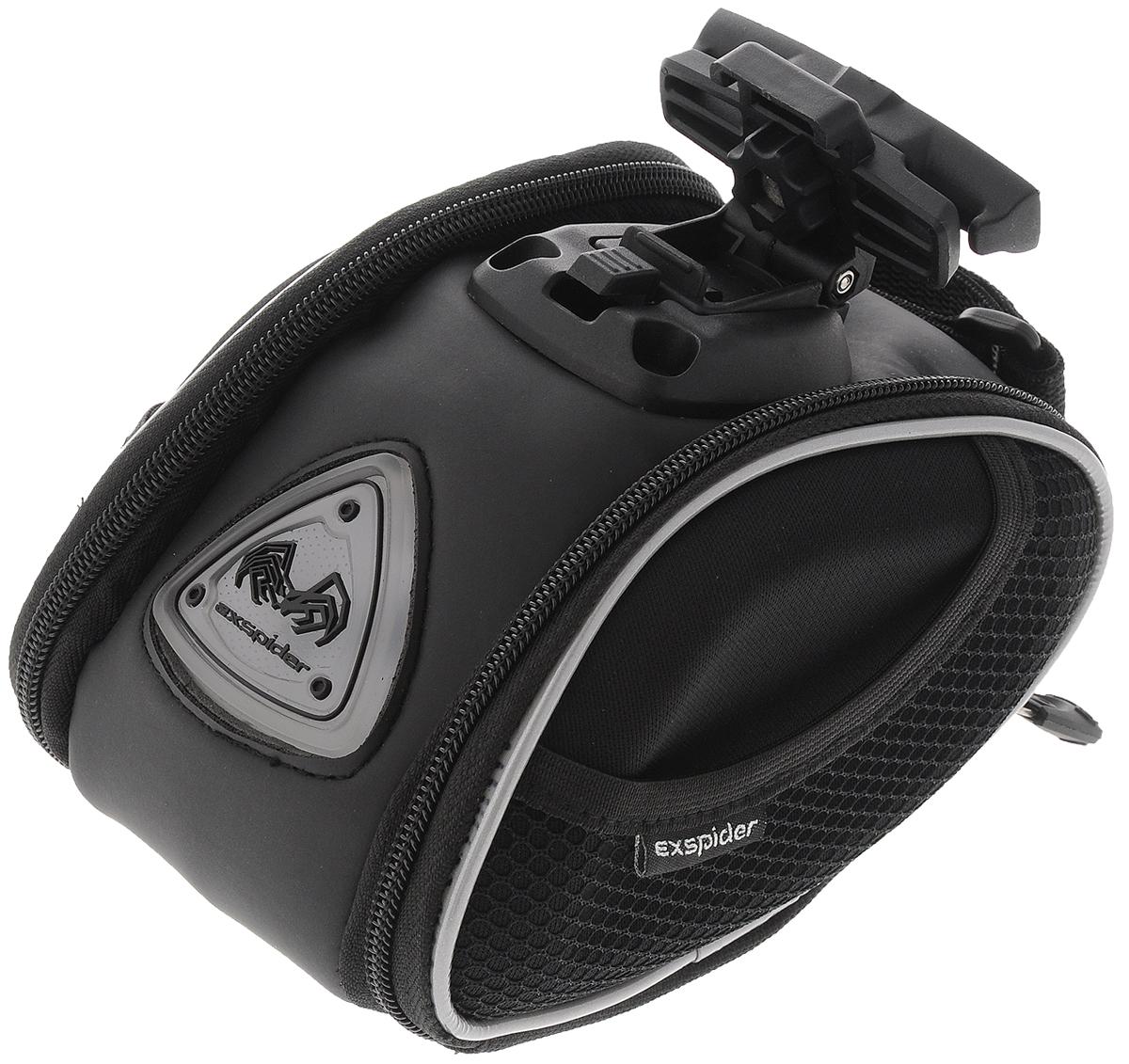Подседельная сумка EXspider, с подсветкойSB6114L/41010Подседельная сумка EXspider, изготовленная из плотного полиэстера, специально разработана для крепления под седло велосипеда. Сумка оснащена вставками из прочного ударопоглощающего материала EVA (вспененный каучук) для большей надежности. Светоотражающие детали обеспечивают безопасность в темное время суток. Изделие имеет вместительный отсек на молнии для хранения небольших инструментов, личных вещей, легкого дождевика. Сбоку также имеется дополнительный карман на молнии и два сетчатых кармана на резинке. Быстросъемная пластиковая пряжка может быть закреплена под разными углами, чтобы сохранить горизонтальное положение сумки. Светящийся светодиодный логотип делает сумку оригинальной и стильной. Необходимо докупить 2 батарейки типа ААА (в комплект не входят).