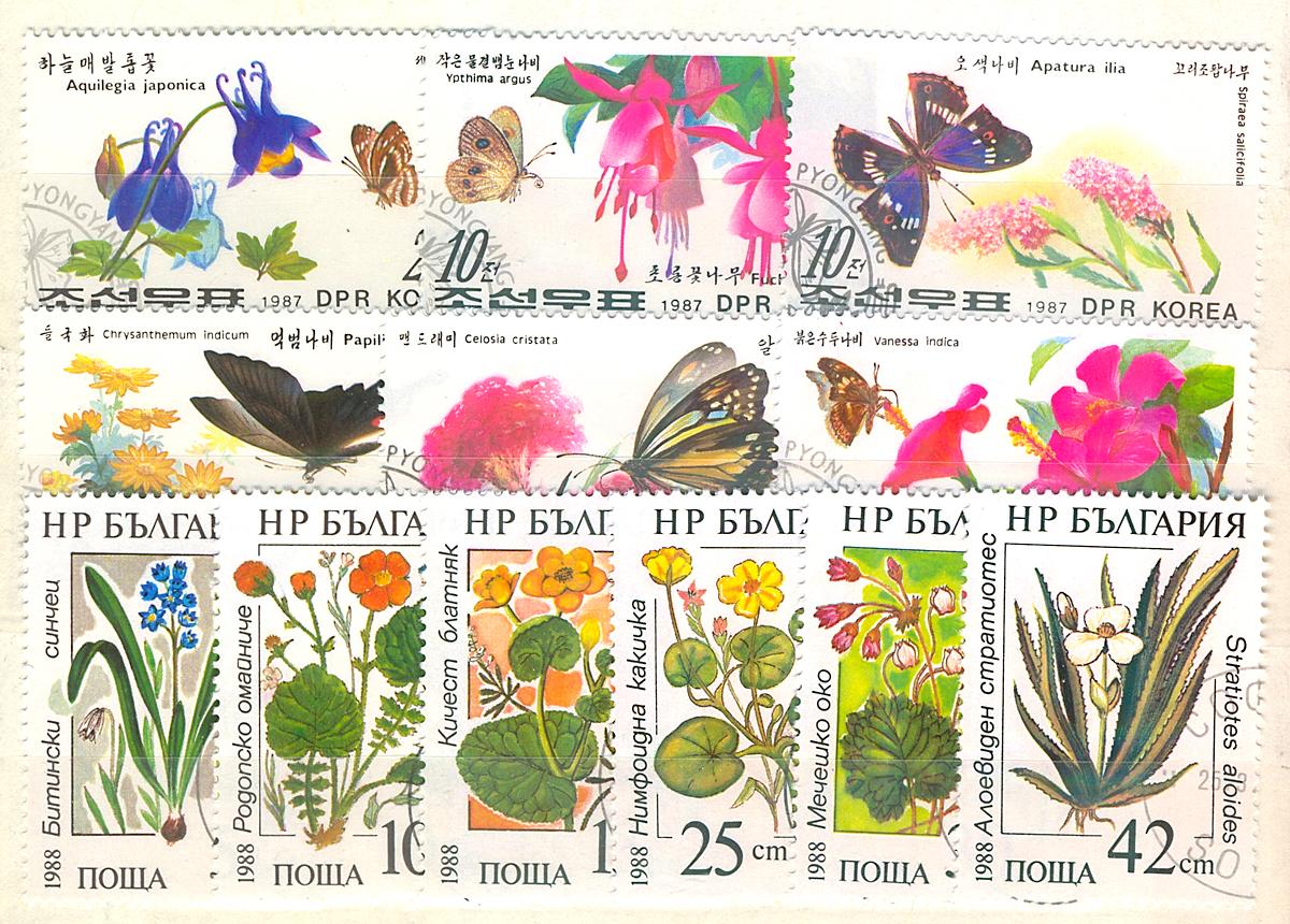 Комплект из 12 марок Цветы и бабочки. Корея, Болгария, 1987-1988 годыМКСПБ 34.2016-25Комплект из 12 марок Цветы и бабочки. Корея, Болгария, 1987-1988 годы. Размер марок: 3.2 х 4.5 см и 3 х 5 см. Сохранность хорошая.