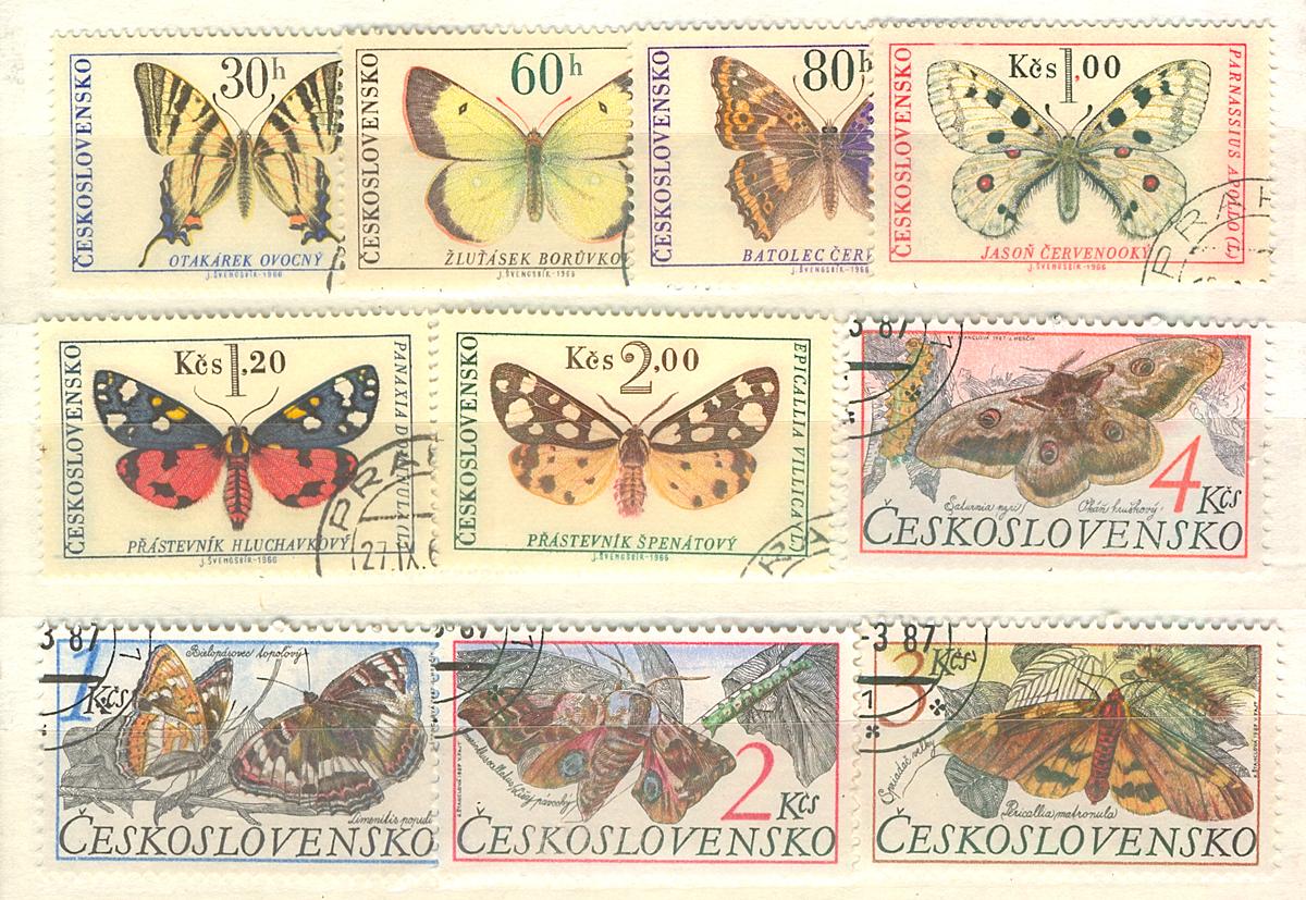 Комплект из 10 марок Бабочки. Чехословакия, 1987 годМКСПБ 34.2016-19Комплект из 10 марок Бабочки. Чехословакия, 1987 год. Размер марок: 2.7 х 4 см и 2.7 х 4.5 см. Сохранность хорошая.