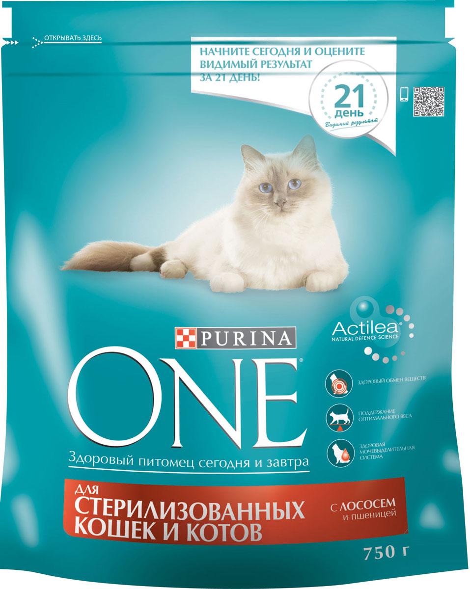 Корм сухой Purina One, для стерилизованных кошек и котов, с лососем и пшеницей, 750 г12266730Сухой корм Purina One специально разработан для питания стерилизованных кошек и котов. Состав корма был специально подобран ветеринарами таким образом, чтобы поддерживать здоровый обмен веществ у кошек и котов, прошедших процедуру стерилизации или кастрации. Дело в том, что им требуется меньше калорий для поддержания нормальной жизнедеятельности и активности, чем собратьям с сохраненной половой функцией. И сухой корм для стерилизованных кошек и кастрированных котов с лососем и пшеницей обеспечивает питомцам необходимый уровень насыщения за счет более высокого (на 15% больше) содержания белка по отношению к жиру, чем в других кормах линейки. Благодаря этому удается избежать набора лишнего веса и риска ожирения у питомцев. Товар сертифицирован.