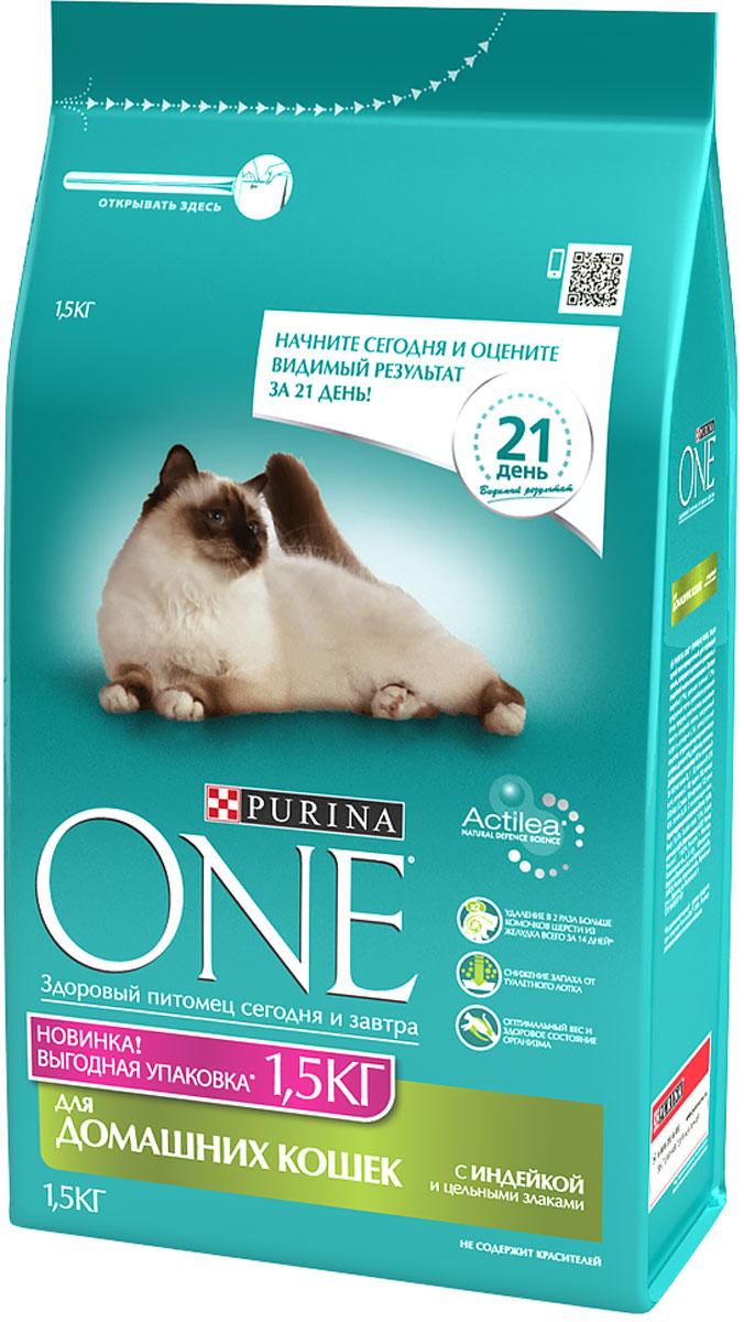 Корм сухой для кошек Purina One Indor, индейка, 1,5 кг12260956Специально разработанное ведущими ветеринарами питание для кошек и котов, которое обеспечивает оптимальное состояние здоровья и веса животного за счет высокого содержания белка. Но помимо протеина домашним кошкам нужно еще и достаточное количество клетчатки в рационе, которая также входит в состав корма Purina ONE®.