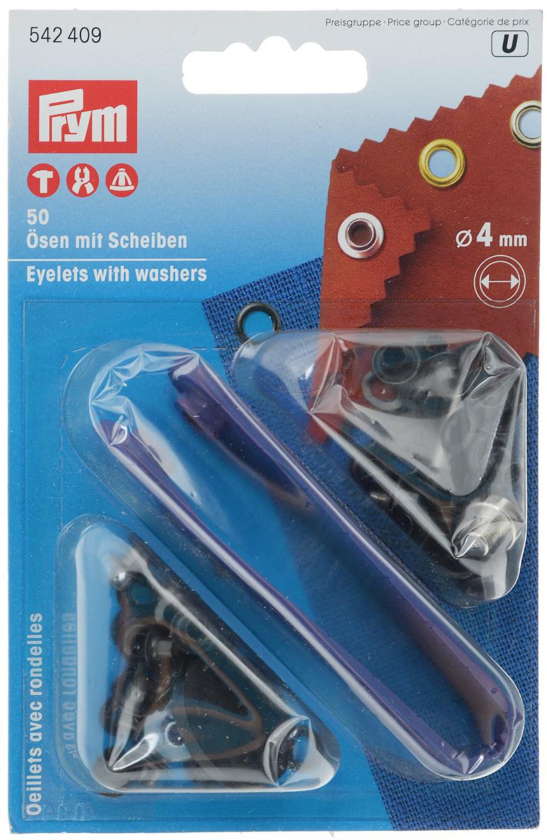 Люверсы Prym, цвет: черный, диаметр 4 мм, 50 шт542409Люверсы Prym выполнены из нержавеющей латуни и предназначены для установки в кожгалантерейные, обувные, швейные и другие изделия, для укрепления краев отверстий, использующихся для продевания веревок, шнуров, тесьмы, тросов. В наборе 50 комплектов люверсов и пластиковый инструмент для установки. Диаметр: 4 мм.