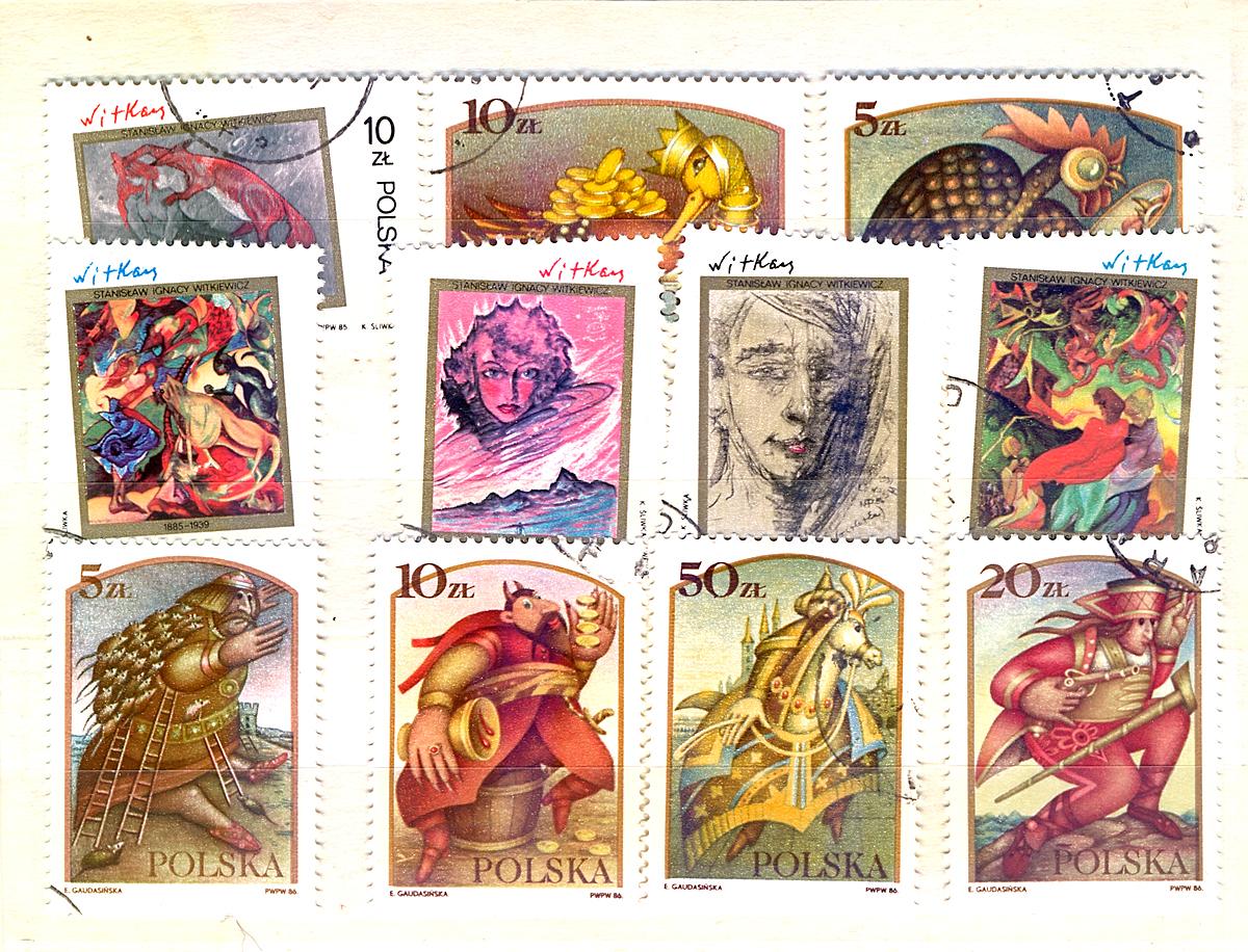 Комплект из 11 марок Польская графика. Польша, 1986 годМКСПБ 34.2016-14Комплект из 11 марок Польская графика. Польша, 1986 год. Размер марок: 4.5 х 3 см. Сохранность хорошая.