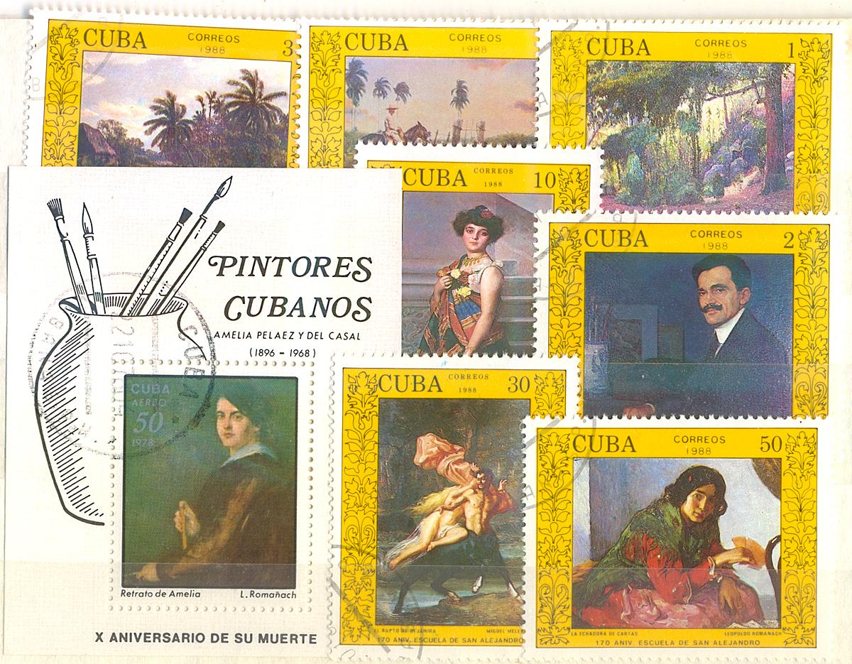 Комплект из почтового блока и 7 марок Кубинские художники. Куба, 1988 годМКСПБ 34.2016-18Комплект из почтового блока и 7 марок Кубинские художники. Куба, 1988 год