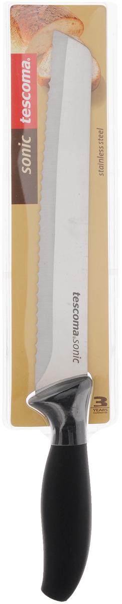 Нож для хлеба Tescoma Sonic, длина лезвия 20 см862050Нож хлебный Tescoma Sonic имеет лезвие с зубчатой кромкой, что очень удобно для резки любых хлебобулочных изделий. Лезвие выполнено из качественной нержавеющей стали, эргономичная ручка - из прочной пластмассы. Лезвие сформировано и заточено для максимальной эффективности и безопасности при использовании. Можно мыть в посудомоечной машине. Общая длина ножа: 34 см.