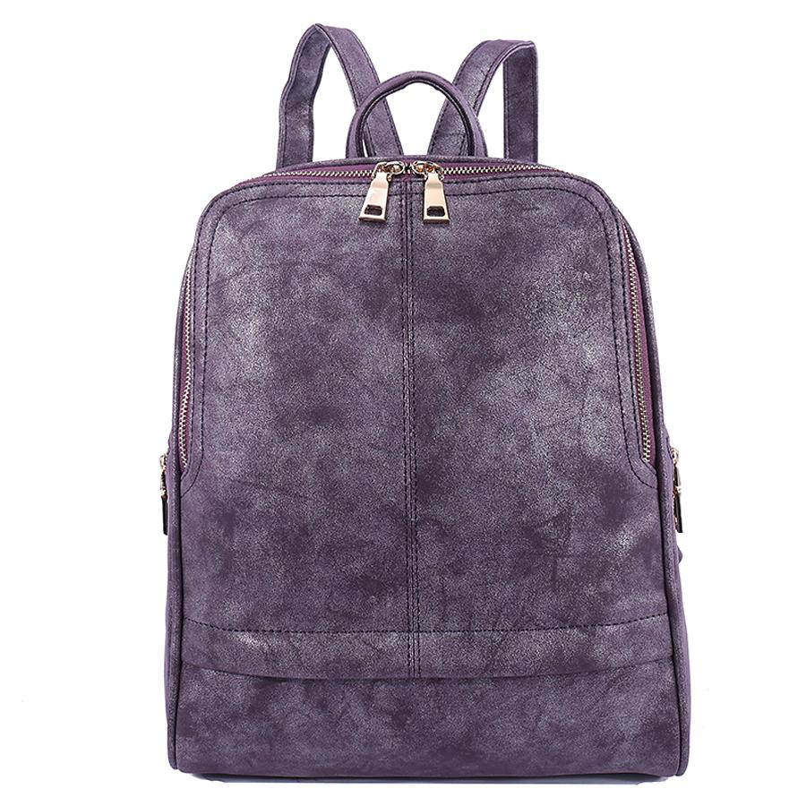 Рюкзак женский Ors Oro, цвет: аметист. D-182/2D-182/2Рюкзак с одним отделением, на молнии, один передний карман на молнии, два боковых кармана на молнии. Внутренний карман на молнии, карман для телефона, задний карман на молнии