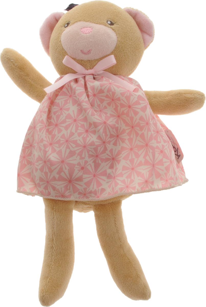 Kaloo Мягкая игрушка Мишка 25 смK969869Мягкая игрушка Kaloo Мишка привлечет внимание малыша и надолго станет его постоянным спутником и любимой игрушкой. Медвежонок в платьице прекрасно будет развивать тактильные ощущения малыша. Сумочка, входящая в комплект, позволяет брать игрушку с собой на прогулку или в путешествие, чтобы малыш никогда не расставался со своим плюшевым другом. Изделие выполнено из качественных и безопасных для здоровья детей материалов, которые не вызывают аллергии. Специальные гранулы, используемые при ее набивке, способствуют развитию мелкой моторики рук малыша. Игрушку приятно держать в руках, прижимать к себе и придумывать разнообразные игры. Игры с мягкими игрушками развивают тактильную чувствительность и сенсорное восприятие.