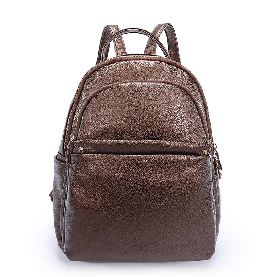 Рюкзак женский Ors Oro, цвет: бронзовый. D-183/7D-183/7Рюкзак с двумя отделениями на молнии, передний карман на молнии, два плоских боковых кармана. Внутренний карман на молнии, карман для телефона, задний карман на молнии