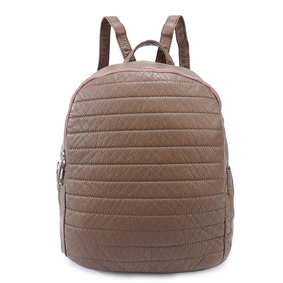 Рюкзак женский Ors Oro, цвет: бронзовый. D-192/7D-192/7Рюкзак с двумя отделениями на молнии. Два плоских боковх кармана. Внутренний карман на молнии, карман для телефона, задний карман на молнии.