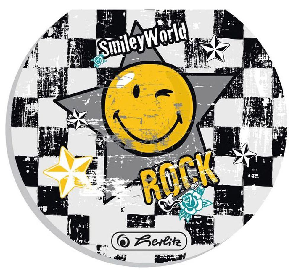 Herlitz Блокнот Smiley World Rock11292422Блокнот Herlitz Smiley World Rock - это незаменимый атрибут современного человека, необходимый для рабочих и школьных записей как в офисе, так и дома. Внутренний склеенный блок гарантирует надежное крепление листов. Блокнот имеет круглую форму и яркий дизайн, дополненный желтым смайлом. Получите ежедневную дозу Рок н ролла с новой дизайнерской серией Smiley World! Клевые и прикольные смайлы, «шахматный» дизайн, а также различные детали рок-культуры, такие как гитары или розы, стилизованные под тату, привлекут внимание любого подростка, особенно в школе.